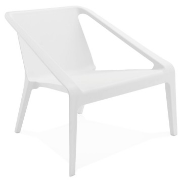 White armchair, sober and refined, for inside and outside, molded in one piece in polypropylene SOLEADO