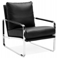 Design and comfortable black leatherette armchair, with chromed metal structure
