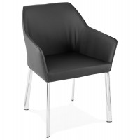 Black wrap-around chair with integrated armrests and chromed metal legs