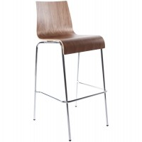 Walnut color stool, solid and stackable, with wooden seat and chromed metal structure COBE