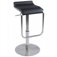 Very comfortable black bar stool with faux leather seat and stainless steel foot MODENA