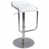 Very comfortable white bar stool with faux leather seat and stainless steel foot