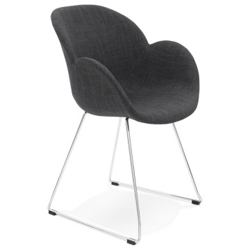 Grey chair, design and contemporary, with chromed metal legs TEXINA