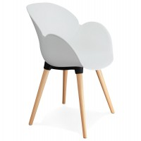 Scandinavian design white chair with solid polypropylene shell and solid beech legs