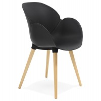 Scandinavian design black chair with solid polypropylene shell and solid beech legs
