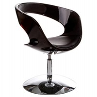 Design black and rotating armchair in black imitation leather