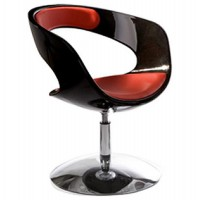 Design black and red rotating armchair with red imitation leather seat