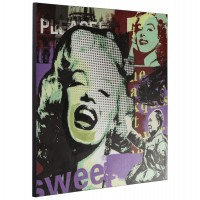 Original printed canvas, on wooden stand, tribute to the Golden Sixties
