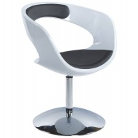 Design white and black rotating armchair in black imitation leather