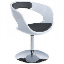 Design and rotating BLACK and WHITE armchair KIRK