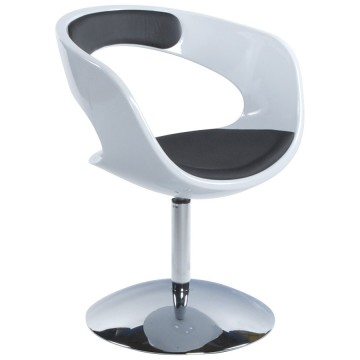 Design and rotating armchair KIRK (WHITE / BLACK)