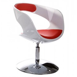 Design and rotating WHITE and RED armchair KIRK
