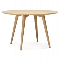 Design round table with wooden top and legs
