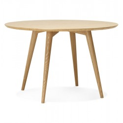 Jolie table ronde en bois, au naturel JANET