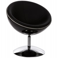 Design and rotating black armchair with black imitation leather seat