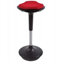 Ergonomic and swivel red stool with textile seat cover