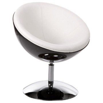 Design and rotating black and white armchair with white imitation leather seat
