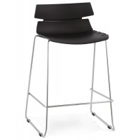 Black bar stool with an unusual look and solid polypropylene seat RENY