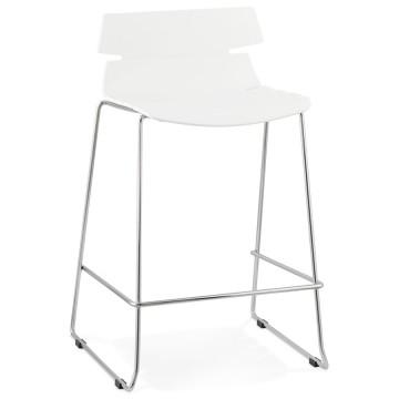 Tabouret de bar BLANC solide, au look hors du commun RENY SMALL