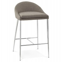 Simple and elegant gray bar stool with upholstered seat and chromed metal legs TALON