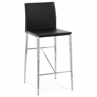 Sturdy black bar stool with imitation leather seat and chromed metal legs DOLBY
