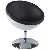 Design and rotating white and black armchair with black imitation leather seat