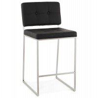 Padded black bar stool in retro chic design, with chromed metal legs DOD
