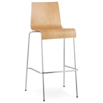 Strong and stackable barstool COBE (NATURAL)