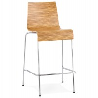 Stackable wooden zebra bar stool with metal frame (small version) COBE