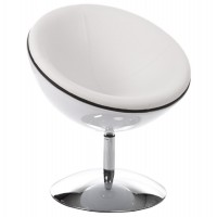 Design and rotating white armchair with white imitation leather seat