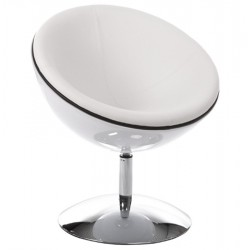 Design WHITE armchair with rotating leg SPHERE