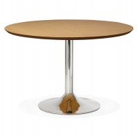 Design round table with natural color wooden top and chromed metal foot BLETA