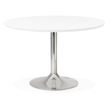 Design white round table with wooden top BLETA