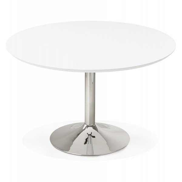 White Round Table With Wooden Top Bleta