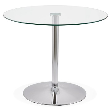 Round side table, with glass top EUKA