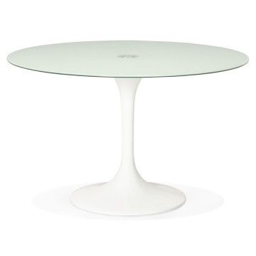 Sleek design WHITE round table with glass top DAKOTA