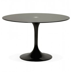 Sleek design round table with glass top DAKOTA (BLACK)