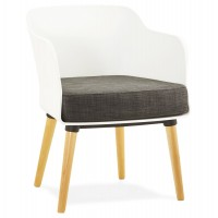 White Scandinavian armchair with black cushion and beechwood feet