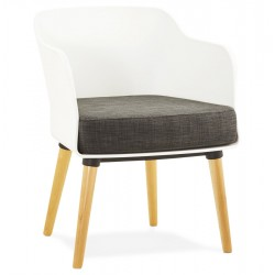 WHITE scandinavian armchair with cushion and beechwood legs MYSIK