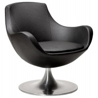 Rotating armchair with padded seat in black imitation leather