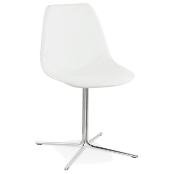 Chaise design BLANCHE avec assise en similicuir BEDFORD