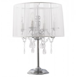 Vintage white bedside lamp with candlestick style COSTES