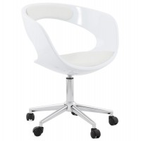 Strong and design white swivel office chair with white leatherette