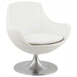 Modern and pivoting WHITE padded armchair RAOL