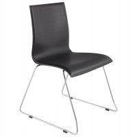 Strong and comfortable black chair with chromed metal structure GLASGOW