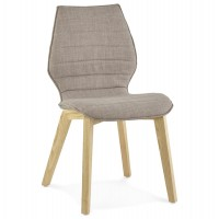 Gray chair with Scandinavian design, with shell with fabric cover and solid ash legs HARDY