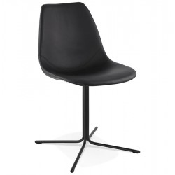 Chaise design avec assise en similicuir BEDFORD (NOIR)
