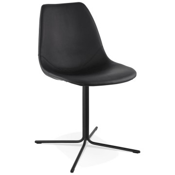 Design BLACK chair with seat in imitation leather BEDFORD