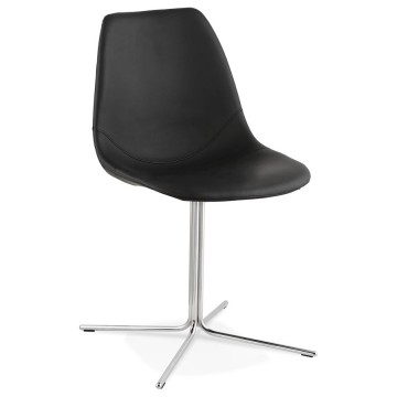 Design BLACK and CHROME chair with seat in imitation leather BEDFORD