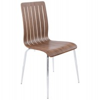 Design and resistant wooden chair with metal structure STRICTO
